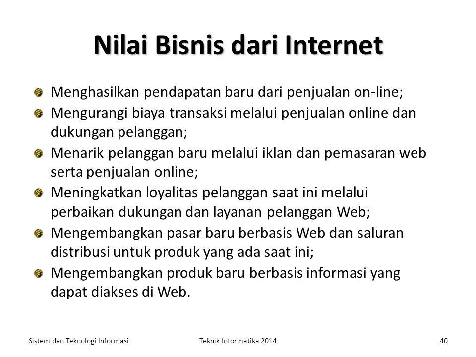 Penggunaan Bisnis dari Internet Sistem dan Teknologi InformasiTeknik Informatika 201439 Penggunaan bisnis dari internet telah meluas dari pertukaran i
