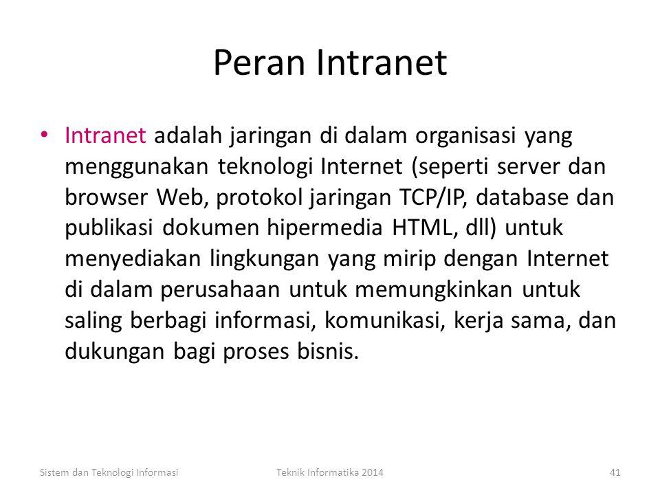 Nilai Bisnis dari Internet Sistem dan Teknologi InformasiTeknik Informatika 201440 Menghasilkan pendapatan baru dari penjualan on-line; Mengurangi bia