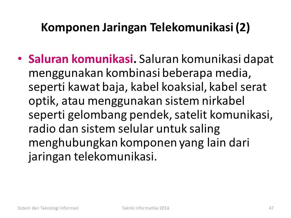 Komponen Jaringan Telekomunikasi (1) Terminal. Setiap alat input/output yang menggunakan jaringan telekomunikasi untuk mengirim atau menerima data, te