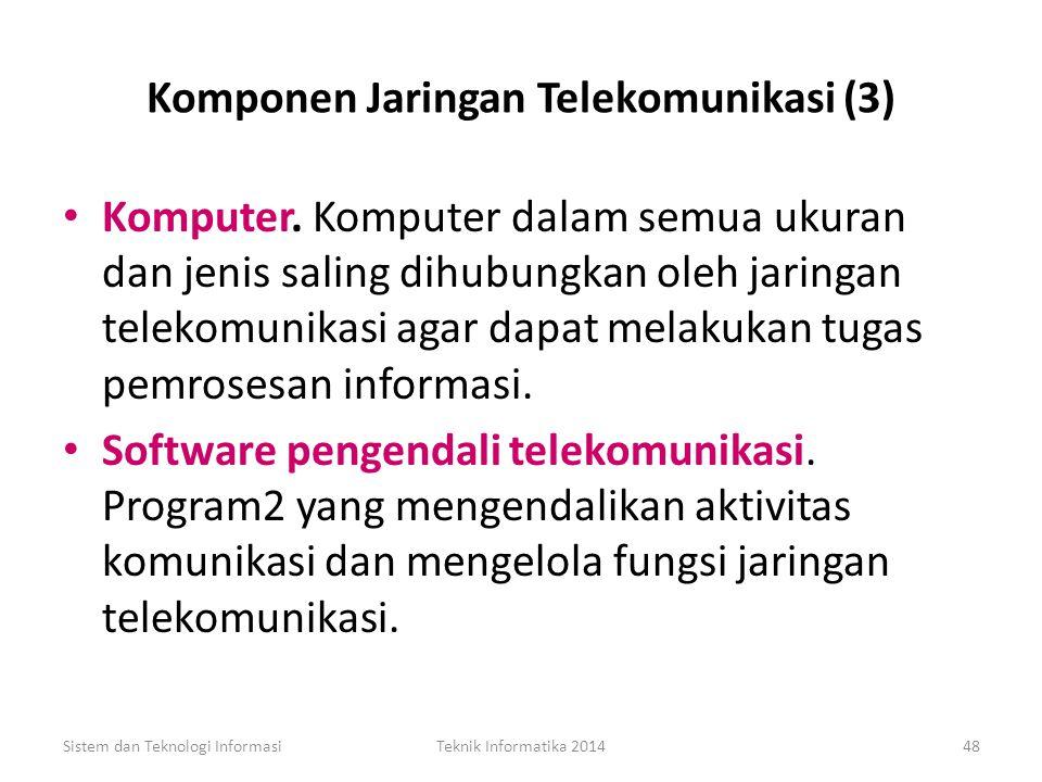 Komponen Jaringan Telekomunikasi (2) Saluran komunikasi. Saluran komunikasi dapat menggunakan kombinasi beberapa media, seperti kawat baja, kabel koak
