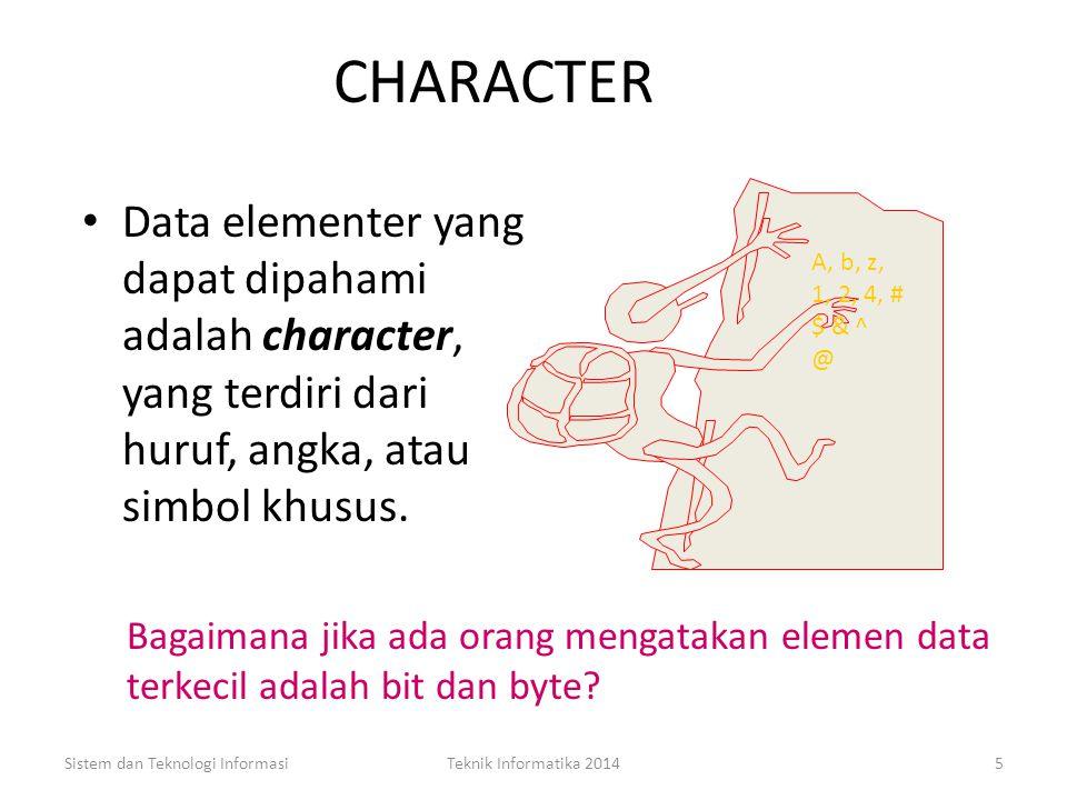 Character Sistem dan Teknologi InformasiTeknik Informatika 20144 Konsep Dasar Data Konsep Konsep Dasar Data Field Record File Database