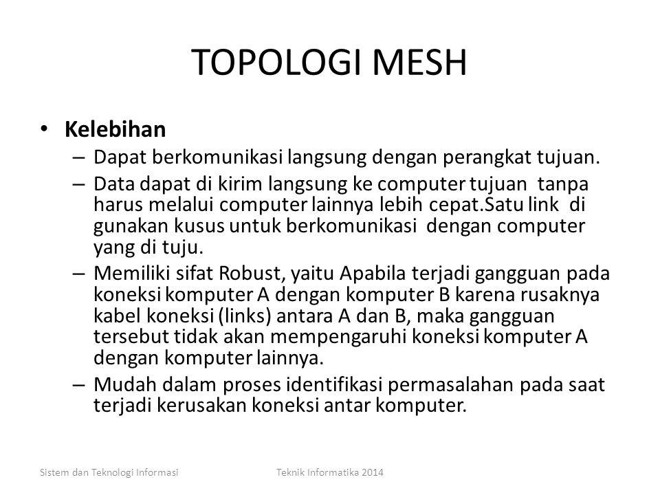 TOPOLOGI MESH Adalah suatu bentuk hubungan antar perangkat dimana setiap perangkat terhubung secara langsung dengan perangkat lainnya yang ada di dala