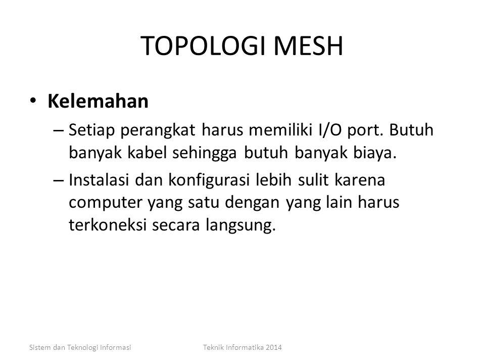 TOPOLOGI MESH Kelebihan – Dapat berkomunikasi langsung dengan perangkat tujuan. – Data dapat di kirim langsung ke computer tujuan tanpa harus melalui