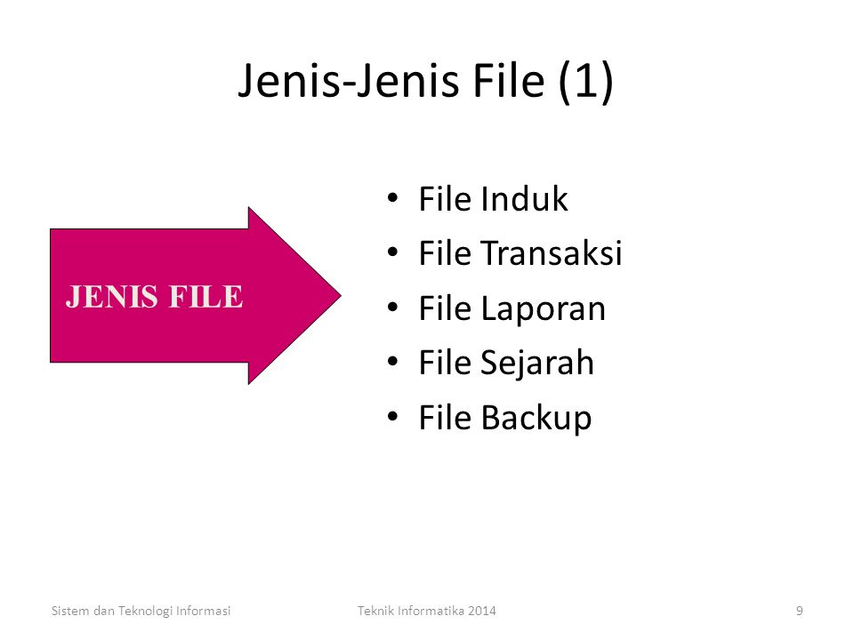 FILE Sekelompok record yang saling berhubungan yang menggambarkan suatu kesatuan data yang sejenis, misalnya: file Pegawai, file gaji, file mata kulia