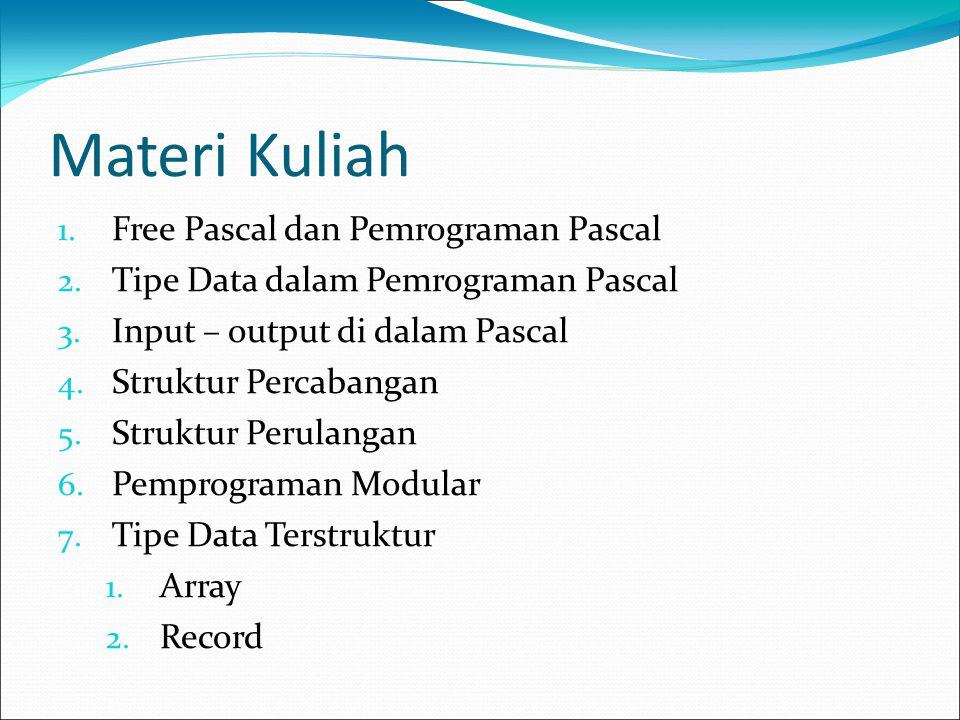 Materi Kuliah 1. Free Pascal dan Pemrograman Pascal 2. Tipe Data dalam Pemrograman Pascal 3. Input – output di dalam Pascal 4. Struktur Percabangan 5.