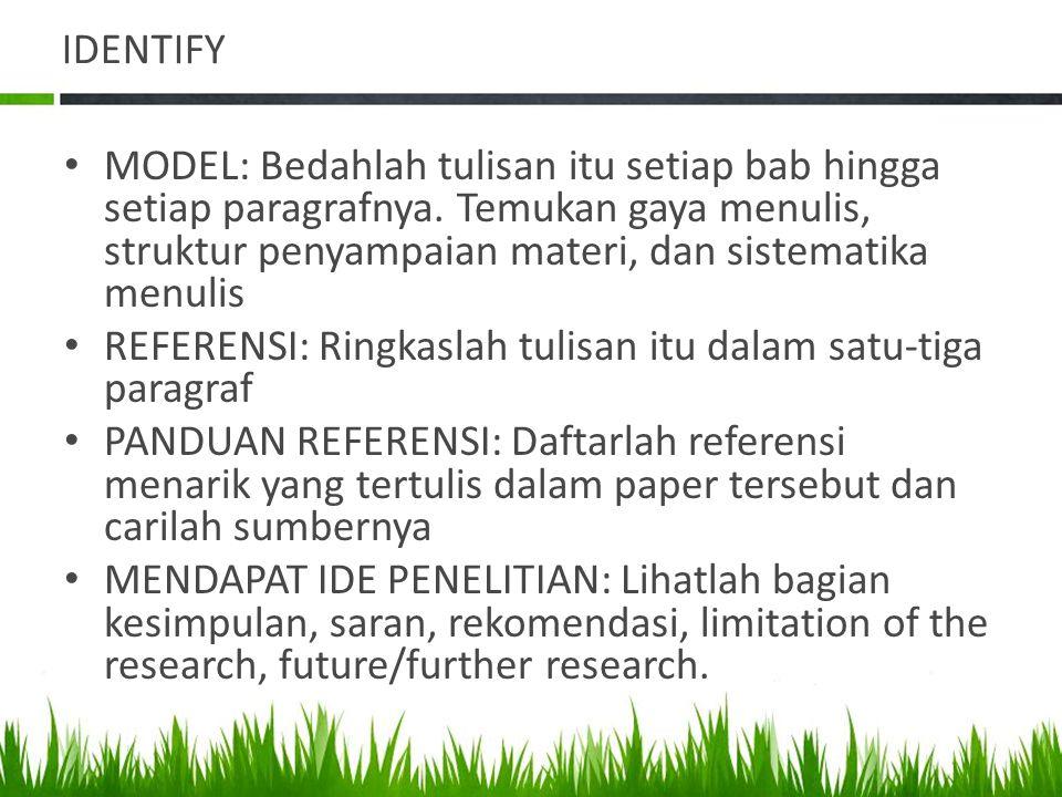 IDENTIFY MODEL: Bedahlah tulisan itu setiap bab hingga setiap paragrafnya.