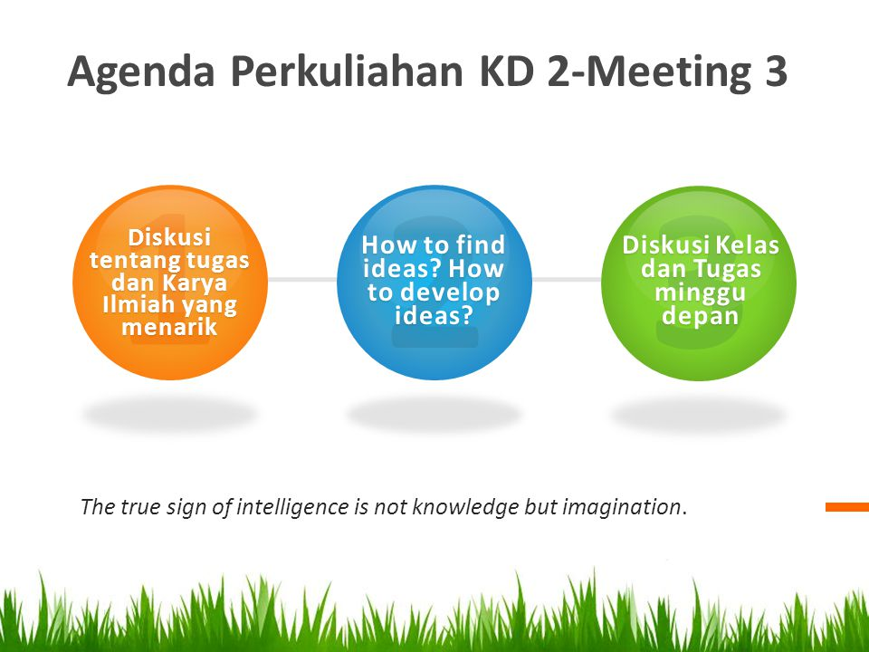 Agenda Perkuliahan KD 2-Meeting 3 The true sign of intelligence is not knowledge but imagination. 1 Diskusi tentang tugas dan Karya Ilmiah yang menari