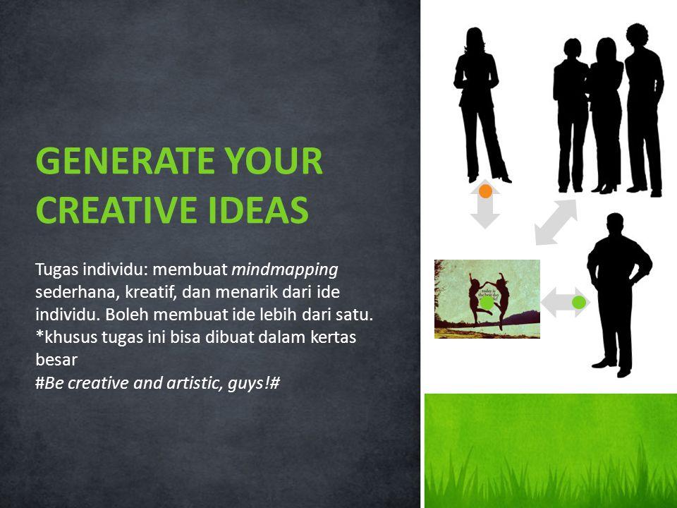 Tugas individu: membuat mindmapping sederhana, kreatif, dan menarik dari ide individu.