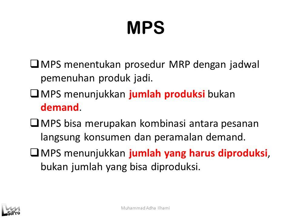 MPS Muhammad Adha Ilhami  MPS menentukan prosedur MRP dengan jadwal pemenuhan produk jadi.  MPS menunjukkan jumlah produksi bukan demand.  MPS bisa