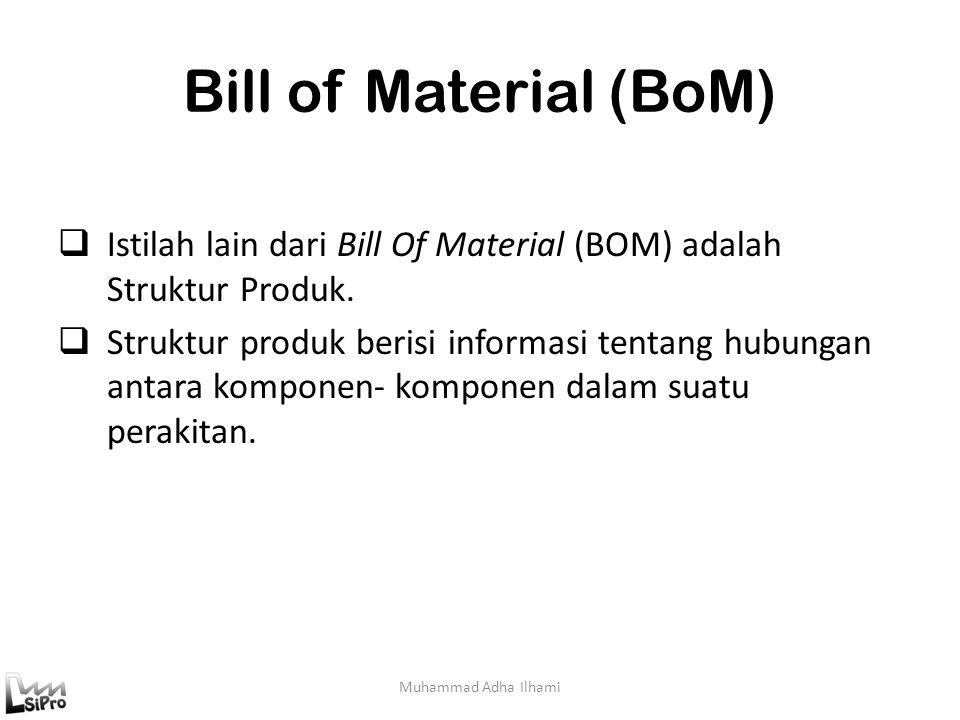 Bill of Material (BoM) Muhammad Adha Ilhami  Istilah lain dari Bill Of Material (BOM) adalah Struktur Produk.  Struktur produk berisi informasi tent