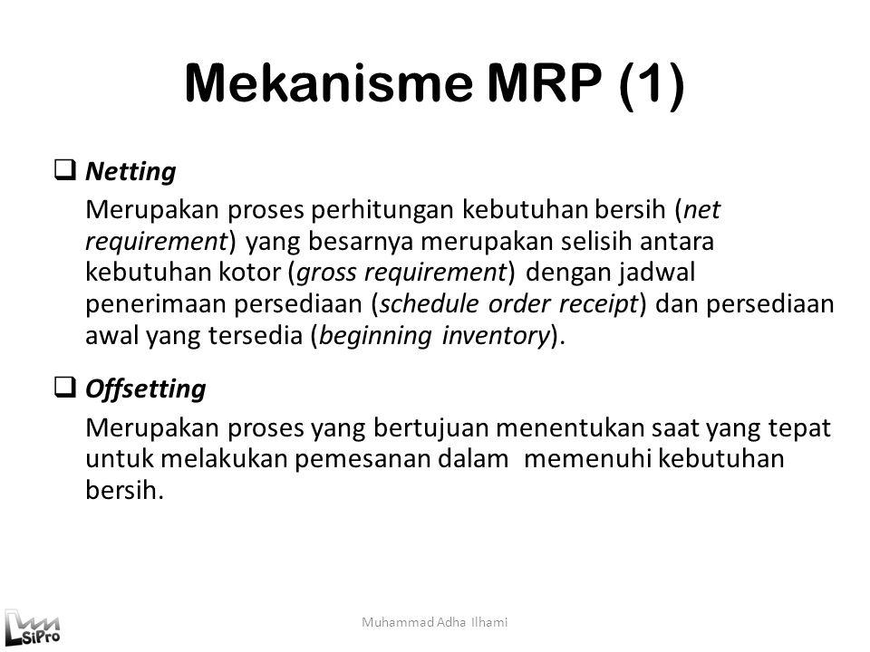Mekanisme MRP (1) Muhammad Adha Ilhami  Netting Merupakan proses perhitungan kebutuhan bersih (net requirement) yang besarnya merupakan selisih antar