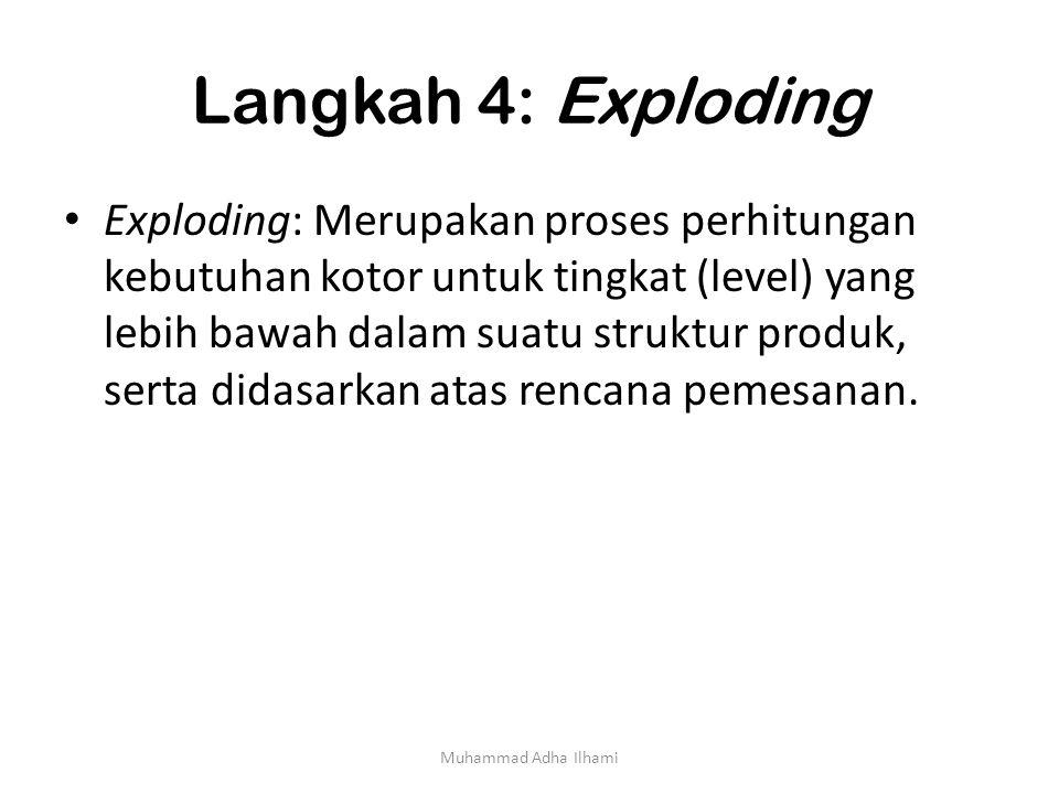 Langkah 4: Exploding Exploding: Merupakan proses perhitungan kebutuhan kotor untuk tingkat (level) yang lebih bawah dalam suatu struktur produk, serta