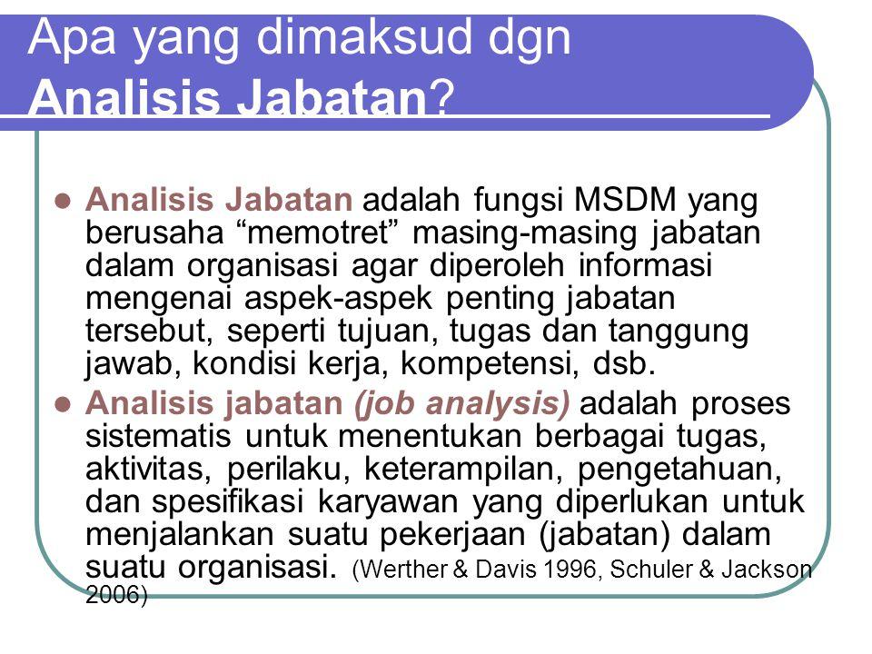 Hubungan Analisis Jabatan dengan Fungsi MSDM Lainnya Penyediaan Staf: Proses staffing akan kacau jika rekruter tidak mengetahui syarat-syarat yang diperlukan untuk menjalankan berbagai jabatan.