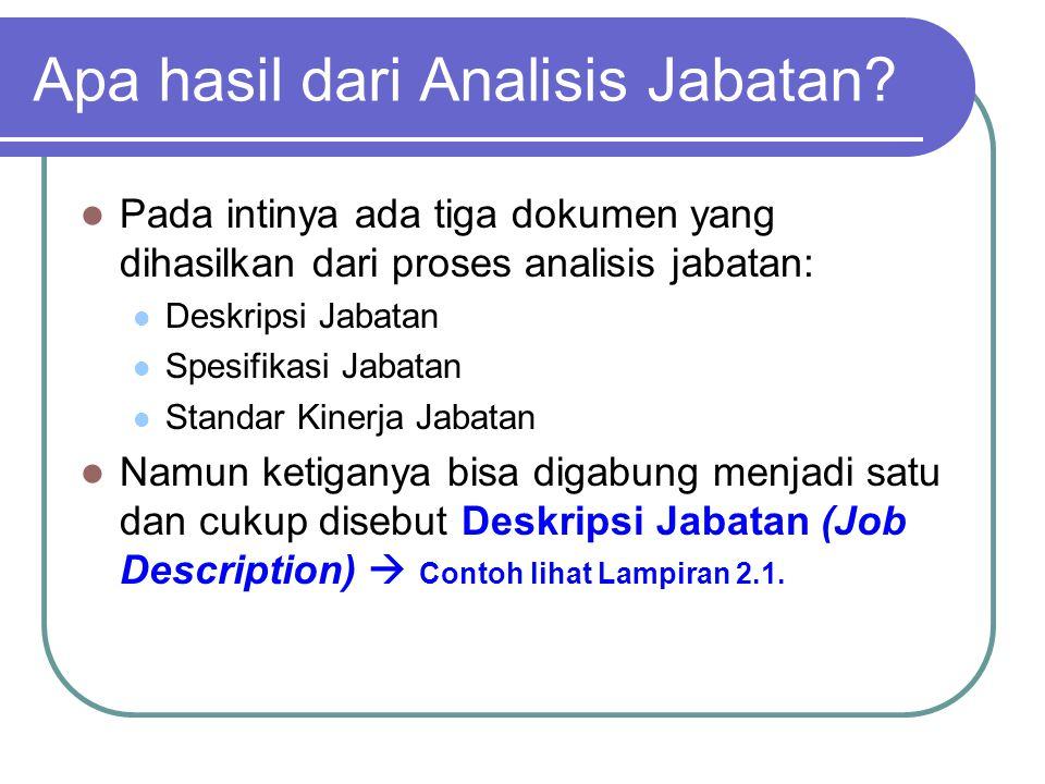 Apa hasil dari Analisis Jabatan? Pada intinya ada tiga dokumen yang dihasilkan dari proses analisis jabatan: Deskripsi Jabatan Spesifikasi Jabatan Sta