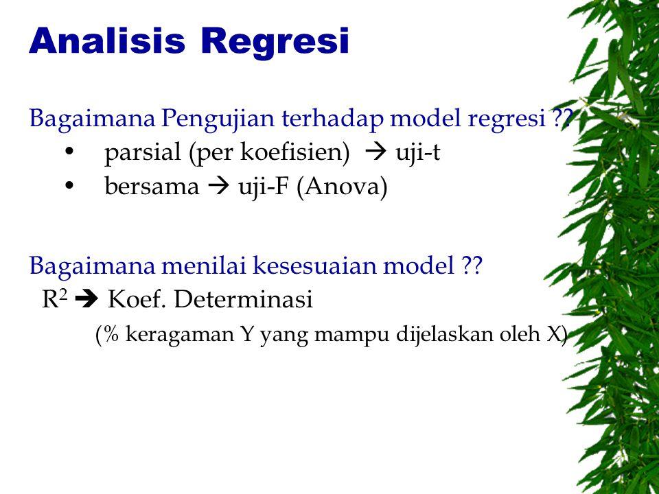 Analisis Regresi Bagaimana Pengujian terhadap model regresi ?? parsial (per koefisien)  uji-t bersama  uji-F (Anova) Bagaimana menilai kesesuaian mo