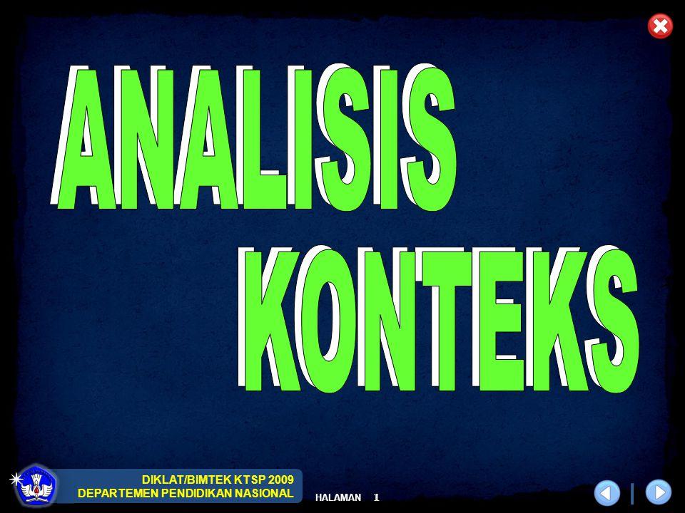 DIKLAT/BIMTEK KTSP 2009 DEPARTEMEN PENDIDIKAN NASIONAL HALAMAN 1
