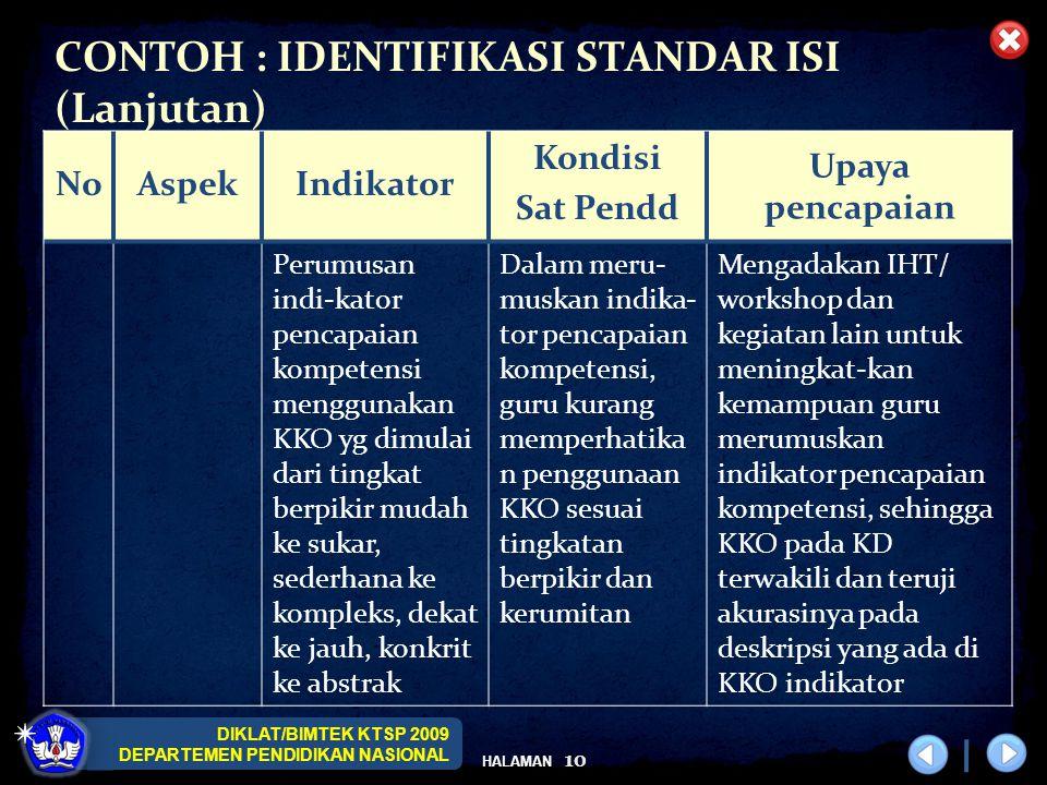 DIKLAT/BIMTEK KTSP 2009 DEPARTEMEN PENDIDIKAN NASIONAL HALAMAN 10 CONTOH : IDENTIFIKASI STANDAR ISI (Lanjutan) NoAspekIndikator Kondisi Sat Pendd Upay