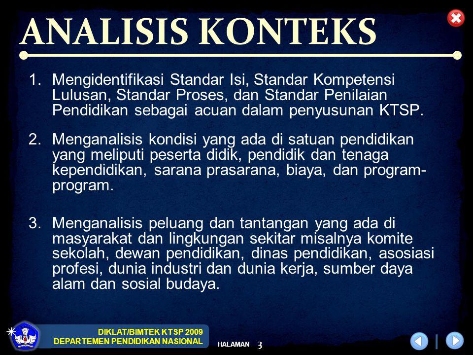 DIKLAT/BIMTEK KTSP 2009 DEPARTEMEN PENDIDIKAN NASIONAL HALAMAN 3 ANALISIS KONTEKS 1.Mengidentifikasi Standar Isi, Standar Kompetensi Lulusan, Standar