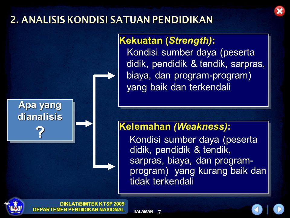 DIKLAT/BIMTEK KTSP 2009 DEPARTEMEN PENDIDIKAN NASIONAL HALAMAN 7 2. ANALISIS KONDISI SATUAN PENDIDIKAN Kelemahan : Kelemahan (Weakness): Kondisi sumbe