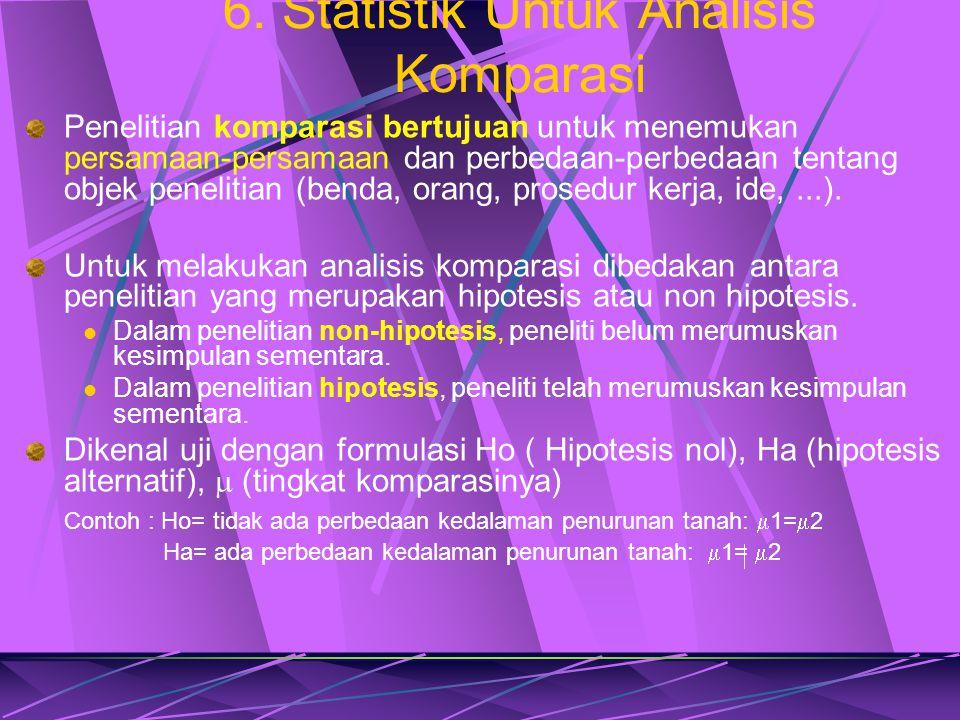 6. Statistik Untuk Analisis Komparasi Penelitian komparasi bertujuan untuk menemukan persamaan-persamaan dan perbedaan-perbedaan tentang objek penelit