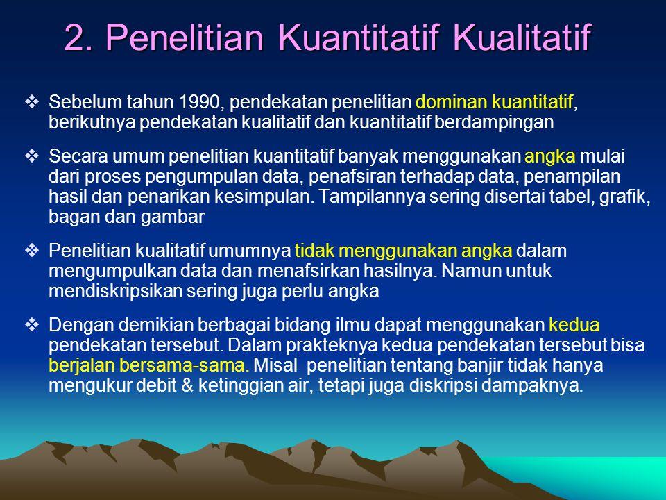 2. Penelitian Kuantitatif Kualitatif  Sebelum tahun 1990, pendekatan penelitian dominan kuantitatif, berikutnya pendekatan kualitatif dan kuantitatif