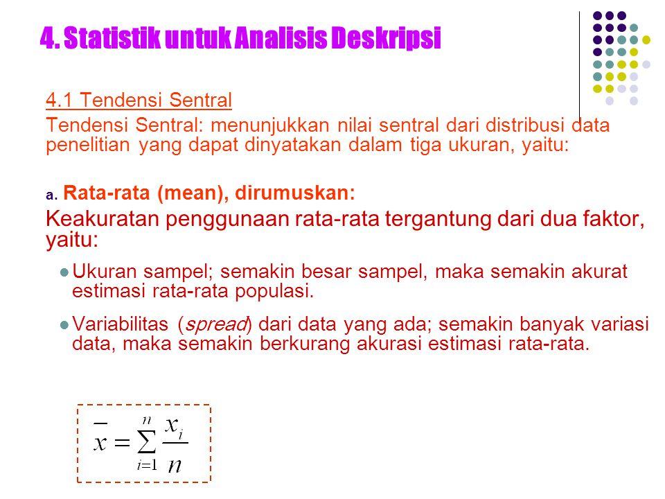 4. Statistik untuk Analisis Deskripsi 4.1 Tendensi Sentral Tendensi Sentral: menunjukkan nilai sentral dari distribusi data penelitian yang dapat diny