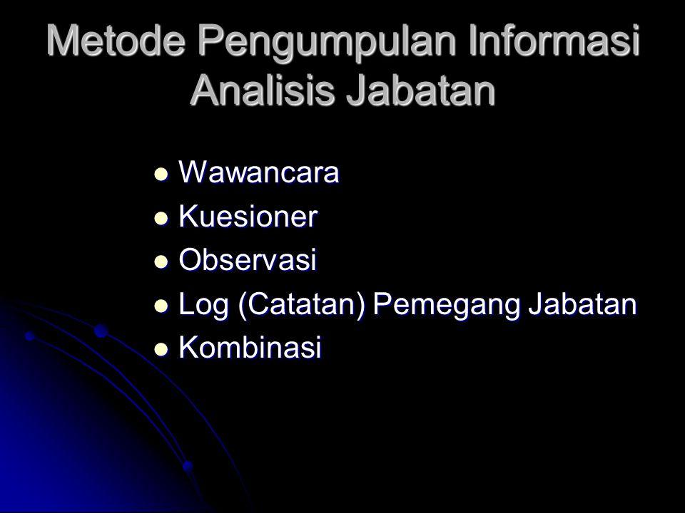 Metode Pengumpulan Informasi Analisis Jabatan Wawancara Wawancara Kuesioner Kuesioner Observasi Observasi Log (Catatan) Pemegang Jabatan Log (Catatan)