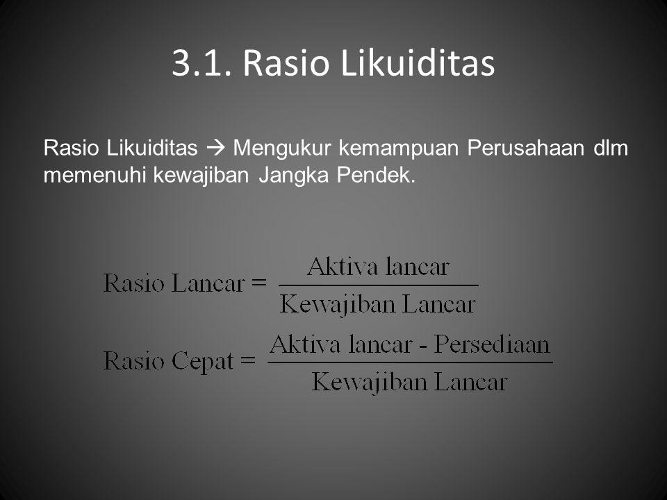 3.1. Rasio Likuiditas Rasio Likuiditas  Mengukur kemampuan Perusahaan dlm memenuhi kewajiban Jangka Pendek.