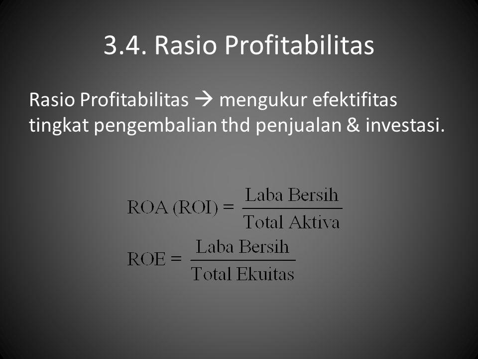 3.4. Rasio Profitabilitas Rasio Profitabilitas  mengukur efektifitas tingkat pengembalian thd penjualan & investasi.