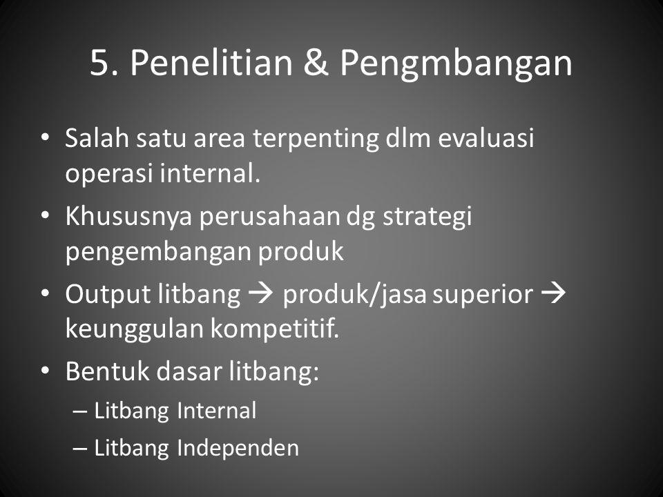 5. Penelitian & Pengmbangan Salah satu area terpenting dlm evaluasi operasi internal. Khususnya perusahaan dg strategi pengembangan produk Output litb