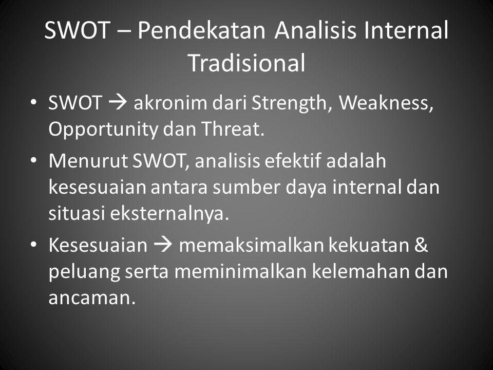 SWOT – Pendekatan Analisis Internal Tradisional SWOT  akronim dari Strength, Weakness, Opportunity dan Threat. Menurut SWOT, analisis efektif adalah