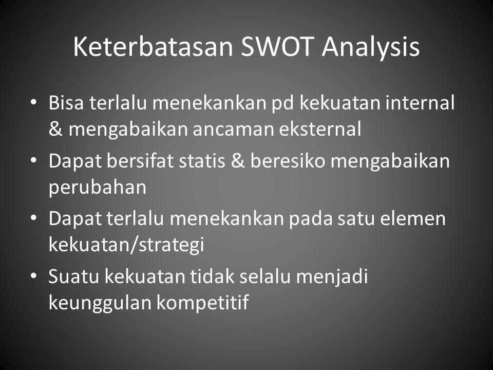 Keterbatasan SWOT Analysis Bisa terlalu menekankan pd kekuatan internal & mengabaikan ancaman eksternal Dapat bersifat statis & beresiko mengabaikan perubahan Dapat terlalu menekankan pada satu elemen kekuatan/strategi Suatu kekuatan tidak selalu menjadi keunggulan kompetitif