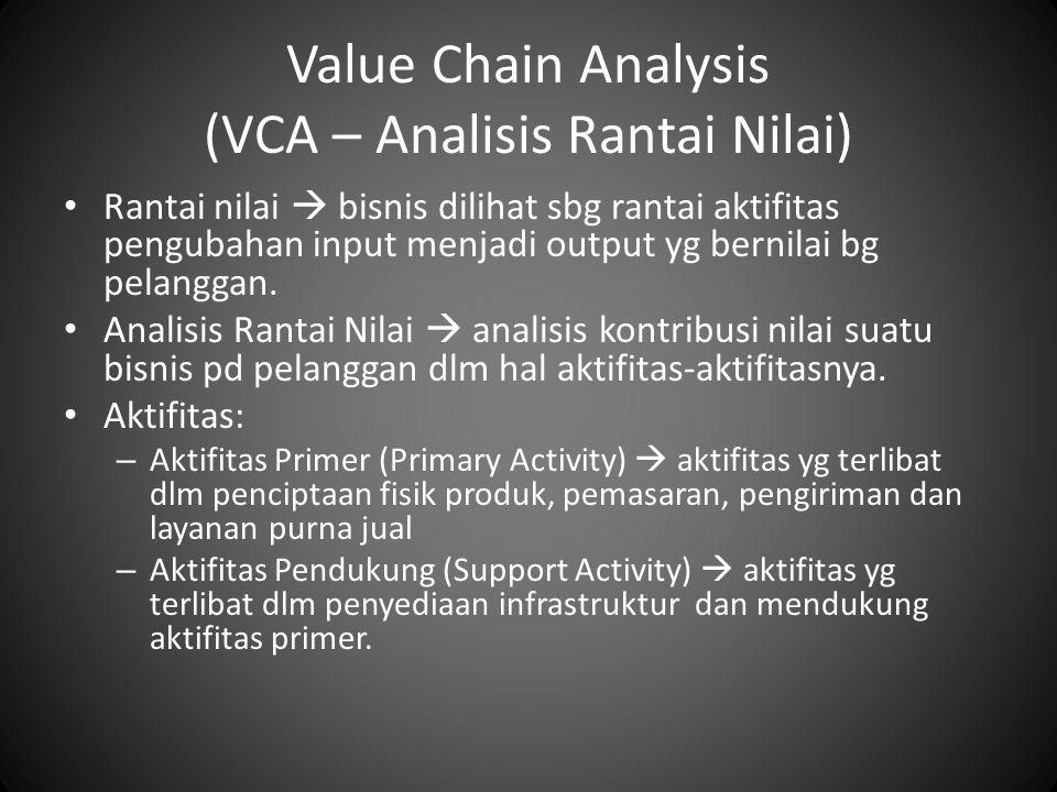 Value Chain Analysis (VCA – Analisis Rantai Nilai) Rantai nilai  bisnis dilihat sbg rantai aktifitas pengubahan input menjadi output yg bernilai bg p