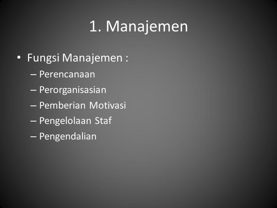 1. Manajemen Fungsi Manajemen : – Perencanaan – Perorganisasian – Pemberian Motivasi – Pengelolaan Staf – Pengendalian