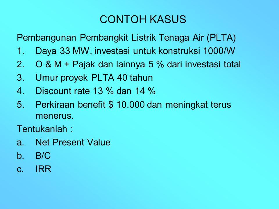 CONTOH KASUS Pembangunan Pembangkit Listrik Tenaga Air (PLTA) 1.Daya 33 MW, investasi untuk konstruksi 1000/W 2.O & M + Pajak dan lainnya 5 % dari inv
