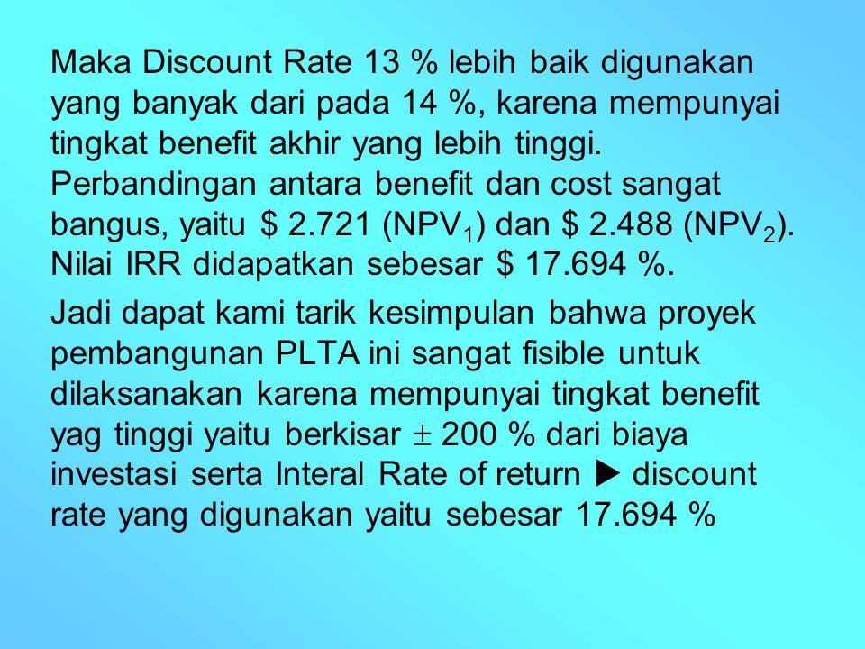 Maka Discount Rate 13 % lebih baik digunakan yang banyak dari pada 14 %, karena mempunyai tingkat benefit akhir yang lebih tinggi. Perbandingan antara