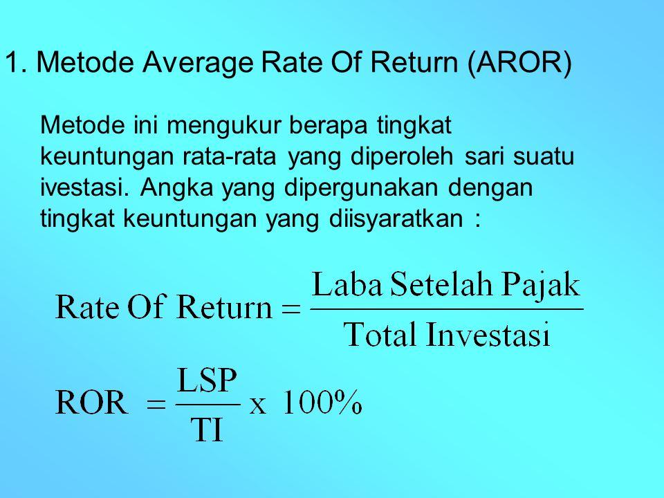 1. Metode Average Rate Of Return (AROR) Metode ini mengukur berapa tingkat keuntungan rata-rata yang diperoleh sari suatu ivestasi. Angka yang dipergu