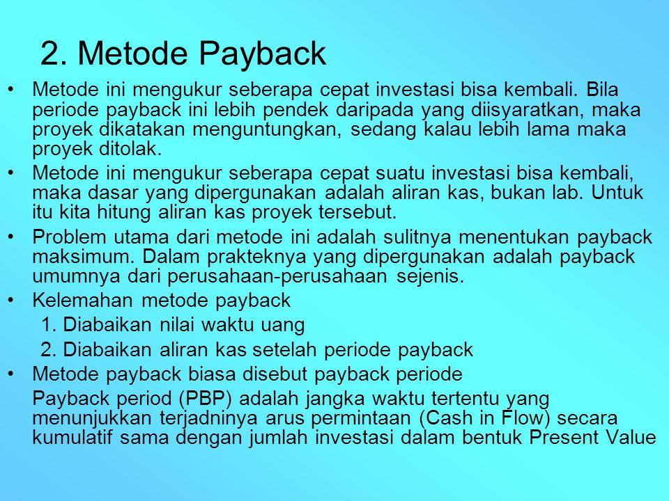 2. Metode Payback Metode ini mengukur seberapa cepat investasi bisa kembali. Bila periode payback ini lebih pendek daripada yang diisyaratkan, maka pr