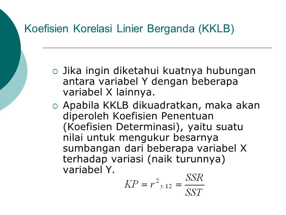 Koefisien Korelasi Linier Berganda (KKLB)  Jika ingin diketahui kuatnya hubungan antara variabel Y dengan beberapa variabel X lainnya.  Apabila KKLB