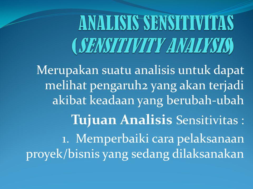 Merupakan suatu analisis untuk dapat melihat pengaruh2 yang akan terjadi akibat keadaan yang berubah-ubah Tujuan Analisis Sensitivitas : 1. Memperbaik