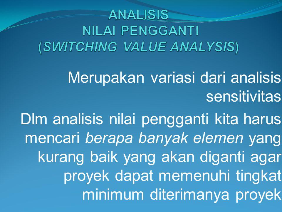 Merupakan variasi dari analisis sensitivitas Dlm analisis nilai pengganti kita harus mencari berapa banyak elemen yang kurang baik yang akan diganti a