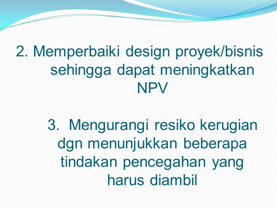2. Memperbaiki design proyek/bisnis sehingga dapat meningkatkan NPV 3. Mengurangi resiko kerugian dgn menunjukkan beberapa tindakan pencegahan yang ha
