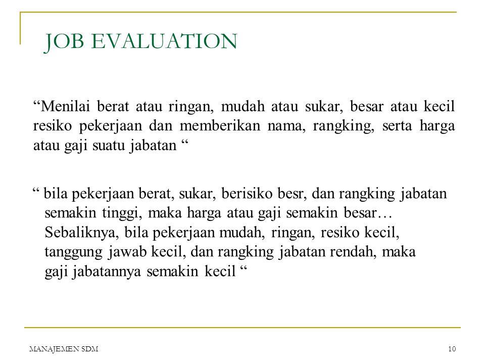 MANAJEMEN SDM9 JOB SPESIFICATION  Adalah : uraian persyaratan kualitas minimum orang yang bisa diterima agar dapat menjalankan suatu jabatan/pekerjaa