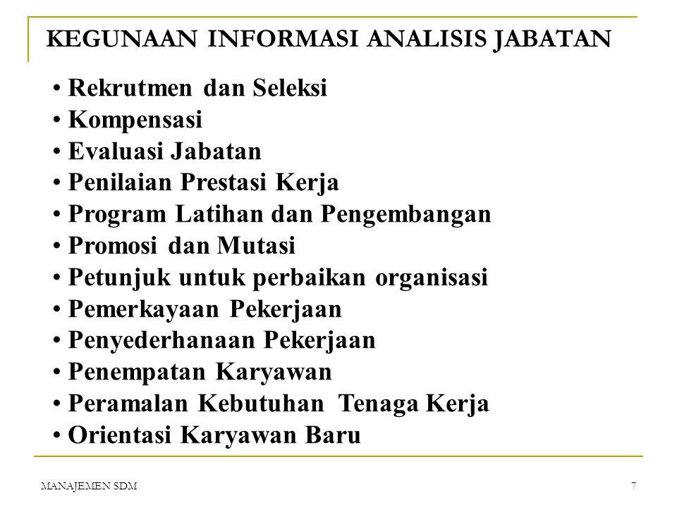 MANAJEMEN SDM6 LANGKAH-LANGKAH ANALISIS JABATAN  Tentukan kegunaan hasil informasi analisis jabatan ! (spt : uraian jabatan, spesifikasi jabatan, eva