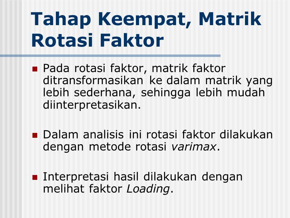 Tahap Keempat, Matrik Rotasi Faktor Pada rotasi faktor, matrik faktor ditransformasikan ke dalam matrik yang lebih sederhana, sehingga lebih mudah dii