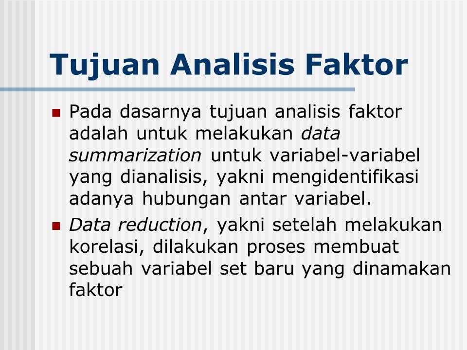 Tujuan Analisis Faktor Pada dasarnya tujuan analisis faktor adalah untuk melakukan data summarization untuk variabel-variabel yang dianalisis, yakni m