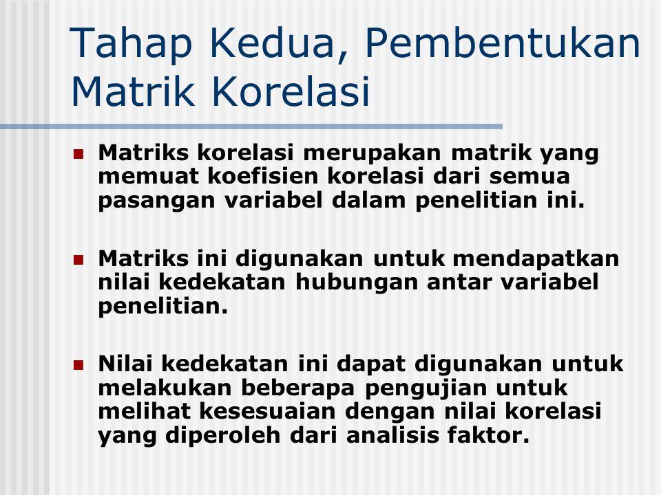 Tahap Kedua, Pembentukan Matrik Korelasi Matriks korelasi merupakan matrik yang memuat koefisien korelasi dari semua pasangan variabel dalam penelitia