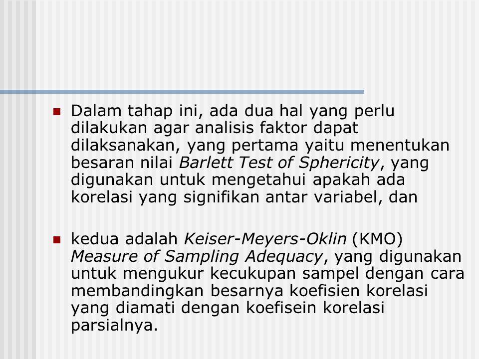 Dalam tahap ini, ada dua hal yang perlu dilakukan agar analisis faktor dapat dilaksanakan, yang pertama yaitu menentukan besaran nilai Barlett Test of