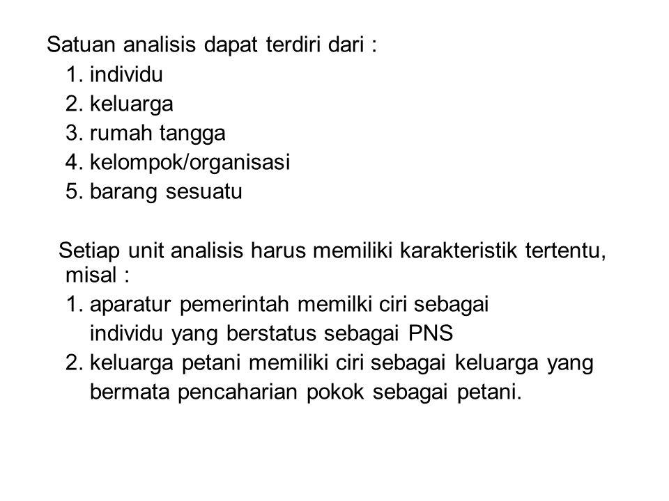 Satuan analisis dapat terdiri dari : 1. individu 2. keluarga 3. rumah tangga 4. kelompok/organisasi 5. barang sesuatu Setiap unit analisis harus memil