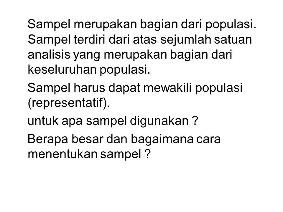 Sampel merupakan bagian dari populasi. Sampel terdiri dari atas sejumlah satuan analisis yang merupakan bagian dari keseluruhan populasi. Sampel harus